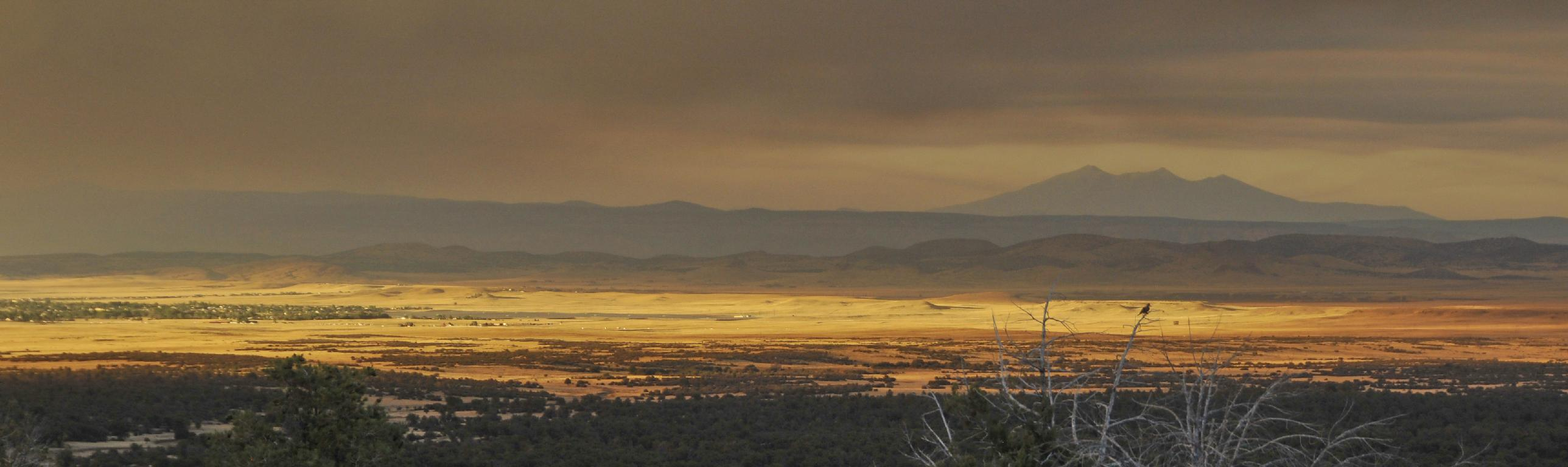 Strange light bathes Chino Valley as the smoke heads toward the San Francisco Peaks